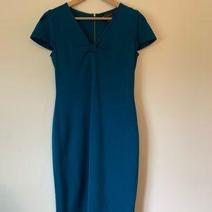St. John Turquoise Knit Cocktail Dress 6